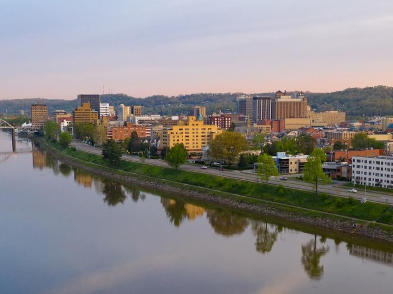 View of downtown Charleston, WV and the Kanawha River